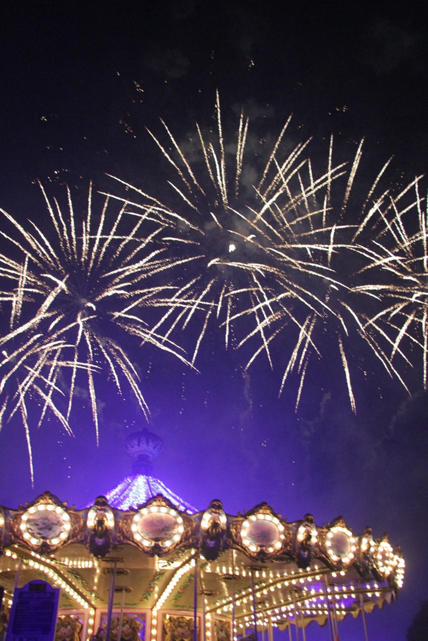 冬の夜空に上がる花火は幻想的です。